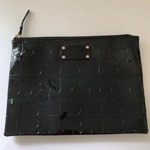 Kate Spade Patent Black Spades Pattern Pouch